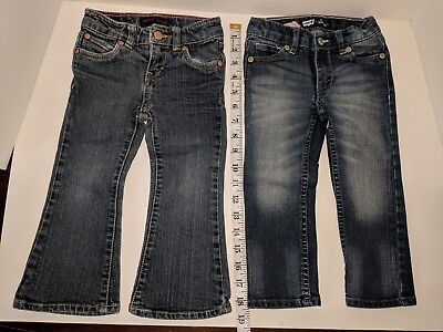 Levi's Blue Jeans 2T Lot, Slim Straight, Flare Fit, Girl's, Toddler