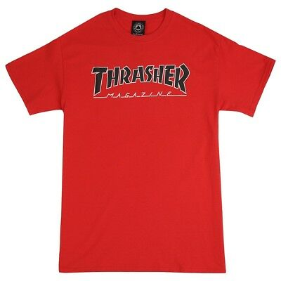 71256ae248c401 XL THRASHER MAGAZINE Outlined T-Shirt Black Red Mens Skateboard ...