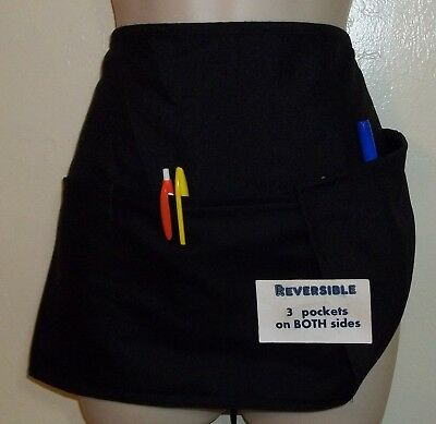 Black reversible waitress waist apron  with 3 pockets on each side