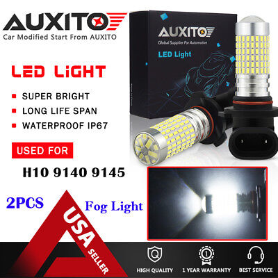 AUXITO Fog Light H10 9145 9140 9040 2800LM 144-SMD LED Bulbs White High Power EA