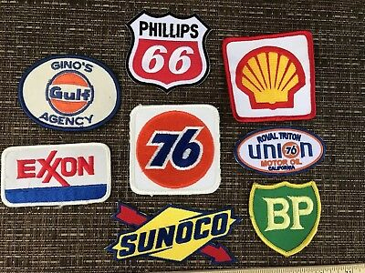 8pc LOT*GAS & OIL EMBROIDERED PATCH LOT*BP*SHELL*SONOCO*GULF*EXON*76*PHILLIPS 66