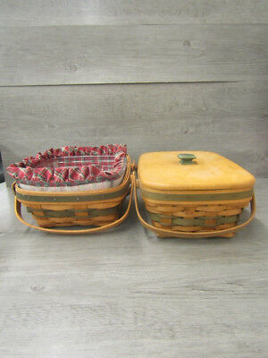 Longaberger Lot of 2 Baskets W. Lid and Red Fabric Liner