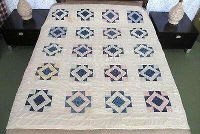 SMALL Vintage Hand Pieced & Quilted OLD FABRICS Thin Quilt: ART SQUARE Pattern