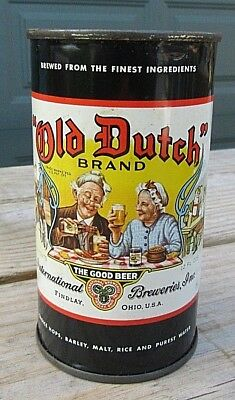 Vintage Early 1950's Old Dutch Brand 12 FL OZ Flat Top Beer Can Top Open