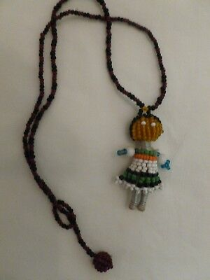 South African Beaded Hand Made Ndebele Fertility Doll Necklace. Doll 2 1/8""