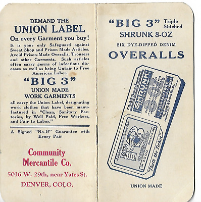 Big 3 Union Made Work Garments/Overalls Advertising Note Pad (Denver, Colorado)