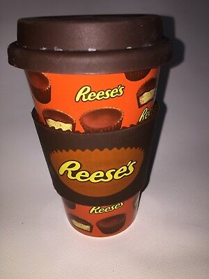 Reese's Peanut Butter Cups Ceramic Travel Mug With Lid & Silicon Band Sleeve
