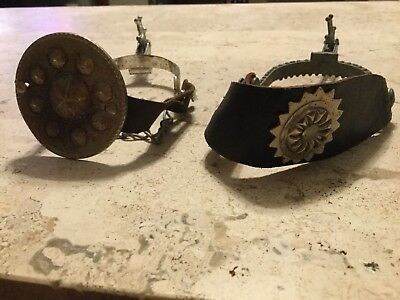 Vintage  Star Rowel Metal Spur W/Leather Straps and Heel Chains & GUIDE Spur