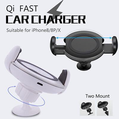 Wireless Qi Fast Charger Two Holder Stable Car Mount For Samsung iPhone X 8 LG