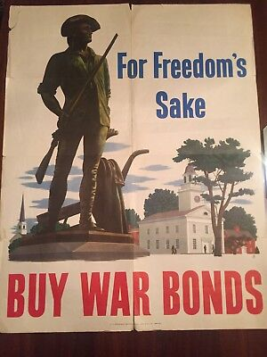 Original WWII For Freedom's Sake Buy War Bonds 1943 Poster