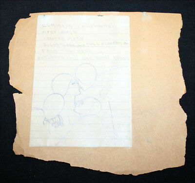 """JERRY WEIST ESTATE: Original pencil drawing & text by HANNES BOK 4x5"""" NO RES!"""