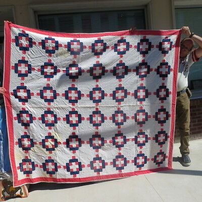 "early hand stitched quilt / patriotic red white & blue colors/ 83"" by 73"" estate"