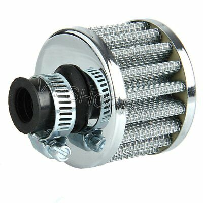 Silver 12mm Cars Universal Cold Air Intake Filter Turbo Vent Crankcase Breather