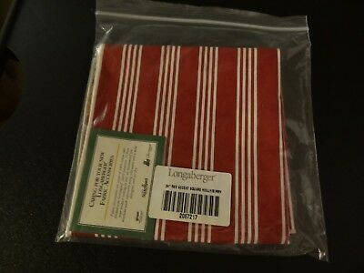 "Longaberger 24"" Reversible Accent Square Berry Red Stripe Traditional Holly New"