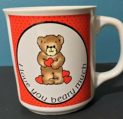 "Vintage "" I love you beary much""  Teddy Bear Coffee Mug  Red & White"