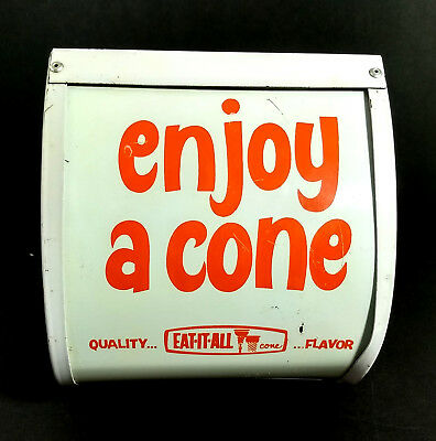 Vintage Ice Cream Cone Advertisement Eat It All Ad Display Stand Sign Soda Shop