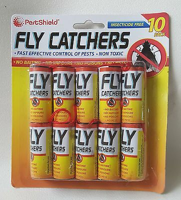 Fly Roll Sticky GLUE Trap CATCHERS 10pc Fast effective Catch Flies Midges Hang