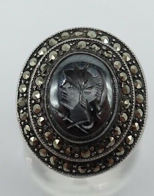 Intaglio Signet STERLING SILVER MARCASITE HEMATITE antique Ring sz7 Art Deco