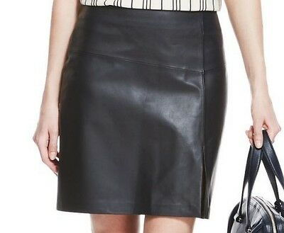 M&S Autograph Luxury Leather Front Vent Mini Skirt Navy size 16 bnwt!