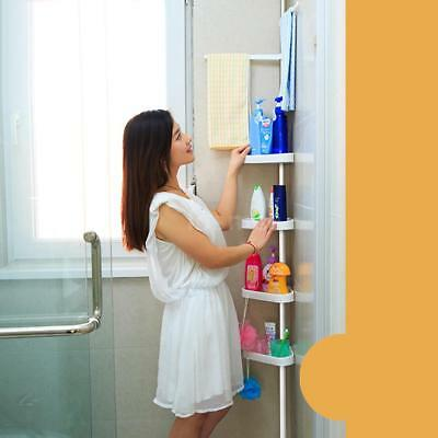 4 Tier Metal Shower Corner Pole Caddy Shelf Rack Bathroom Storage Organizer I2Y2