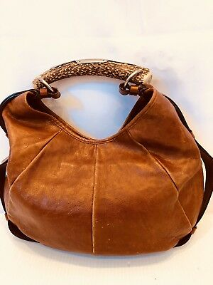 YSL YVES Saint Laurent Horn Mombasa brown leather bag purse 205118
