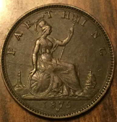 1875H UK GB GREAT BRITAIN VICTORIA FARTHING - Great example with nice details!