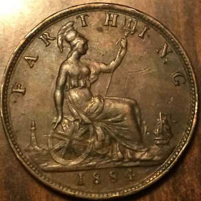 1884 UK GB GREAT BRITAIN VICTORIA FARTHING - Stunning example but rim issues