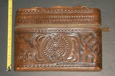 Vintage Hand Tooled Leather Case 3 Flask Travel Bar Liquor Set from Mexico