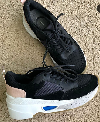 Zara Chunky Sole Leather Suede Lace Up Sneaker Usa Sz 7 5 Euro 38