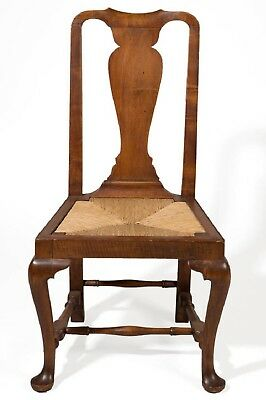 Period C.1750 Boston MA Queen Anne Tiger Maple Side Chair - Great Form!