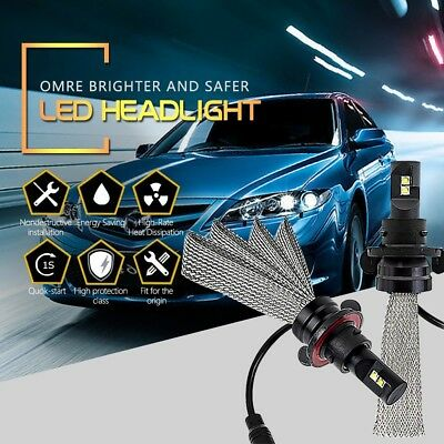 H13 9008 5G LED Headlight Bulbs High/Low Beam 6000LM 6500K COB Chips