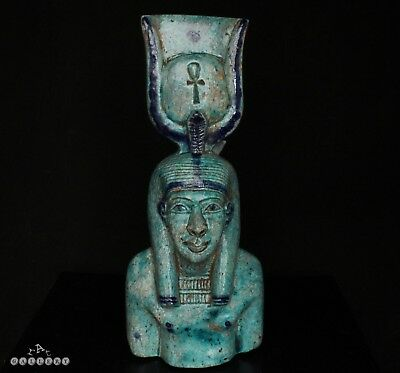 Large Antique Egyptian Faience Goddess Deity - Grand Tour 19th Century