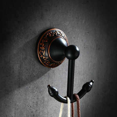 Retro Solid Brass Wall Mounted Double Robe Hook Towel Hanger Antique Black ORB