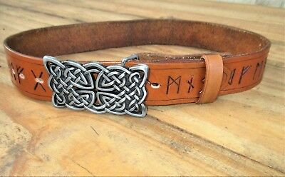 """Celtic Runic Leather Belt Handmade To Custom Fit YOU  22"""" to extra long  66 inch"""