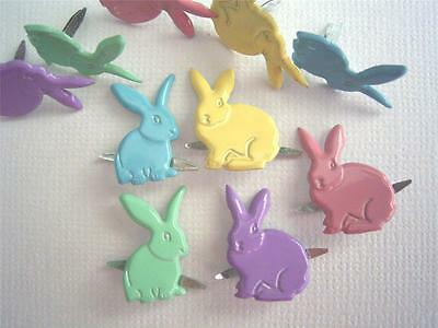 BRADS RABBIT  / BUNNY PASTEL  pk of 6 EASTER scrapbooking craft split pin