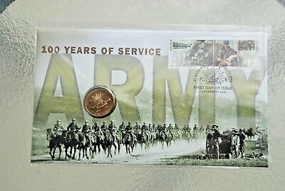 2001 ONE DOLLAR-ARMY: 100 YEARS of SERVICE-PHILATELIC NUMISMATIC COVER-NO RESERV