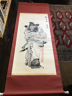 Vintage China Wuhan Institute Zhong Kuei Deity Scroll Painting Signed Large