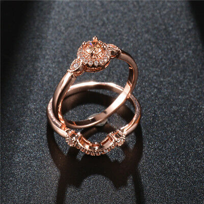 Gorgeous Rings for Women Rose Gold Filled Jewelry Round Cut Citrine Size 6-10