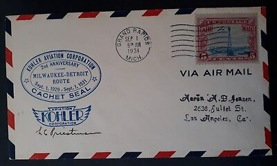 RARE 1931 United States Kohler Aviation 2nd Ann Cover ties 5c stamp Grand Rapids