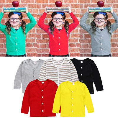 AU Casual Kids Baby Boy Girl Knitted Sweater Cardigan Coat Long Sleeve Tops 1-6Y