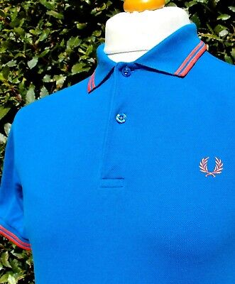 Fred Perry M1200 Olympian Blue Twin Tipped Polo - S/M - Ska Mod Scooter Casuals