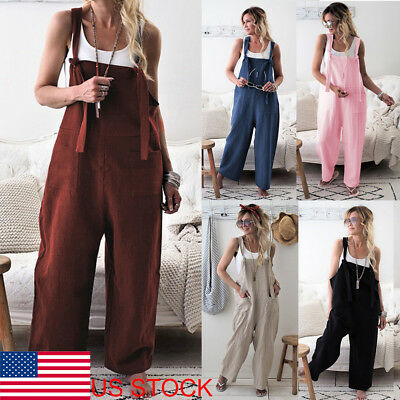 US Women Casual Overalls Jumpsuit Bib Trousers Linen Dungarees Wide Leg Pants