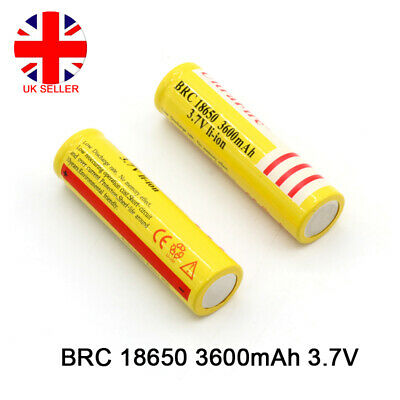 Genuine BRC 18650 3600mAh Rechargeable Lithium 3.7V Battery For FLashlight Torch