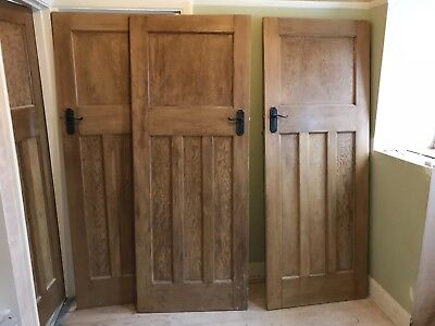 3 pitched pine wood internal doors 1 over 3 style stripped & waxed antique1930s