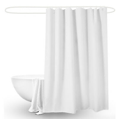 Plain Extra Long Drop Waterproof Fabric Shower Curtain for Bathroom with 12 Hook