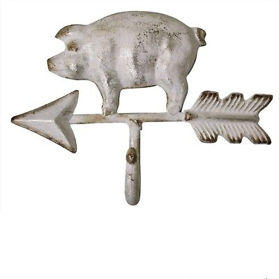 Pig Piglet White with Arrow Hook DIY Shabby Chic Farmhouse Country Cottage Farm