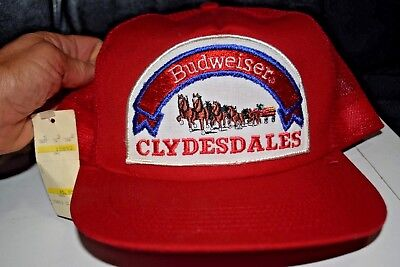 5f2188067cf VINTAGE BUDWEISER CLYDESDALE S Trucker Hat Red Patch Snapback Mesh ...