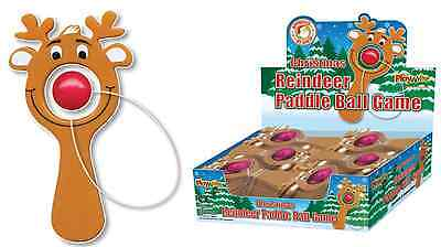 Reindeer Mini Paddle Bat Ball Game Christmas Party Bag Stocking Filler Gift Toy
