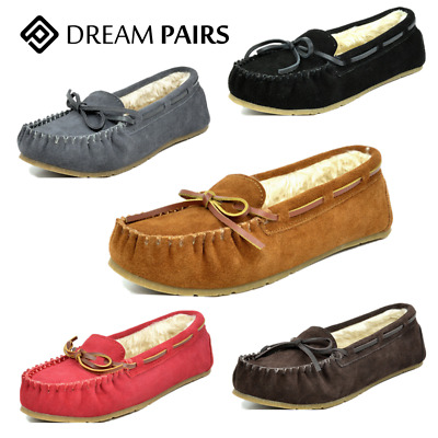 DREAM PAIRS Women Moccasin Faux Fur Slip On Slippers Comfortable Loafer Shoes
