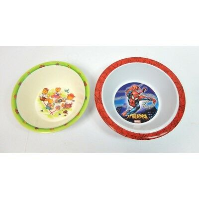 Lot De 2 Assiettes Bebe Enfant En Melamine Decors Oursons Et Spiderman